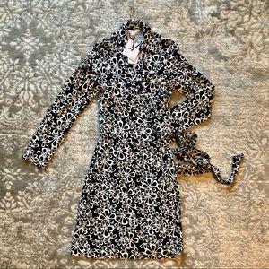 Diane Von Furstenberg Black Floral Wrap Dress